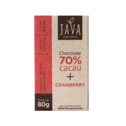 Chocolate Java 70% Cacau + Cramberry 80 Gr