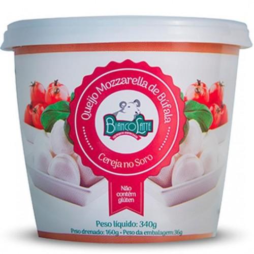 Queijo Mozzarella Búfala Cereja no Sopro - Bianco Latte 160 gr