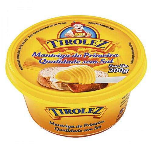 Manteiga de Primeira Qualidade Sem Sal - Tirolez 200 g
